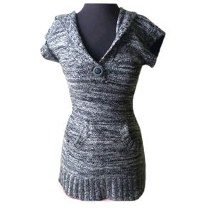 Grey Knitted Dress with Hood